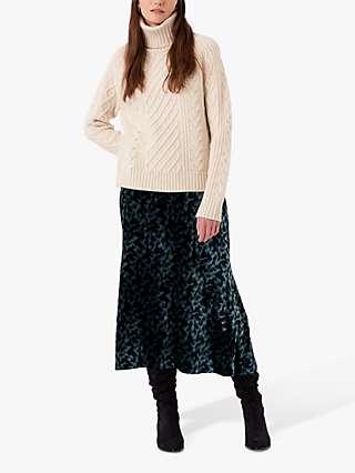 Brora Silk Velvet Dapple Print Maxi Skirt, Dusk