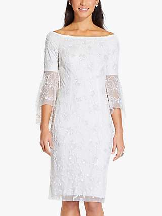Adrianna Papell Off Shoulder Bell Sleeve Dress, Ivory