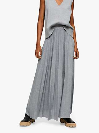 Mango Latte Pleated Maxi Skirt, Grey