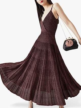 L.K.Bennett Gatsby Metallic Pleated Dress, Pink