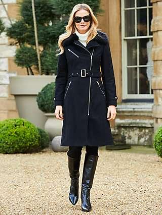 Sosander Plain Longline Faux Fur Collar Coat, Black