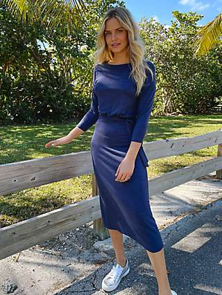 Sosander Plain Belted Midi Dress, Blue