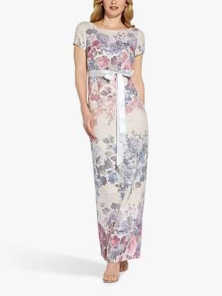 Adrianna Papell Matelasse Floral Print Column Maxi Dress, Champagne/Multi
