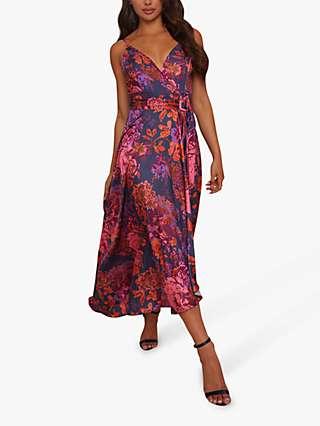 Chi Chi London Floral Print Satin Midi Dress, Purple/Multi