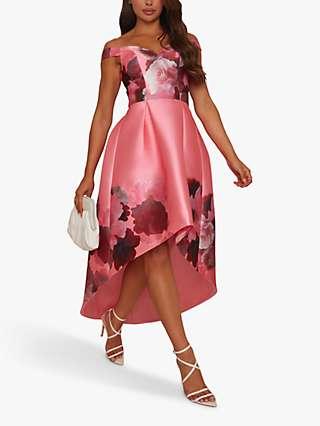 Chi Chi London Floral Print Bardot Neck Dress, Pink/Multi