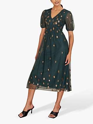 Monsoon Siobhan Sequin Detail Midi Dress, Green