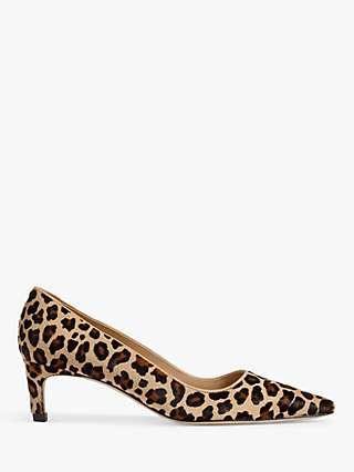 L.K.Bennett Ava Leopard Print Calf Hair Kitten Heel Court Shoes, Multi