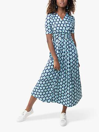 Jolie Moi Coleen Bird Print Maxi Wrap Dress, Blue