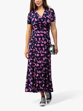 Jolie Moi Cross Front Leafy Maxi Dress, Navy