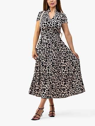 Jolie Moi Leopard Print Marbouka Stand Collar Midi Dress, Pink