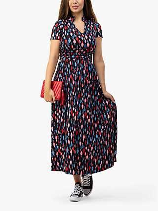 Jolie Moi Abstract Print Marbouka Stand Collar Midi Dress, Navy Multi