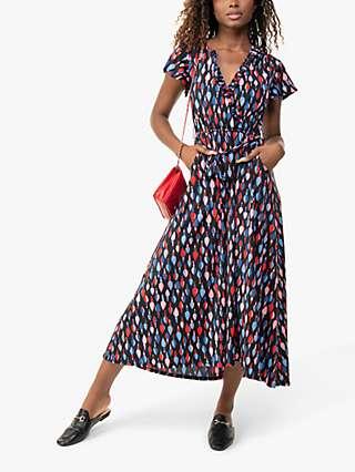 Jolie Moi Lola Abstract Print Wrap Midi Dress, Navy Multi