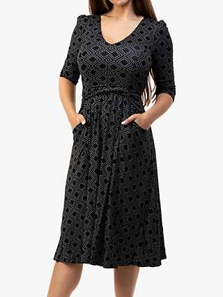 Jolie Moi Valeria Geometric Print Midi Dress, Black