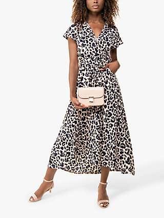Jolie Moi Lola Leopard Print Wrap Midi Dress