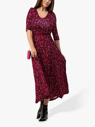 Jolie Moi Kamiyah Leopard Print Maxi Dress, Pink Multi