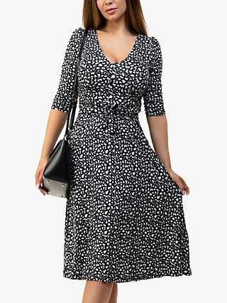 Jolie Moi Valeria Animal Print Midi Dress, Black