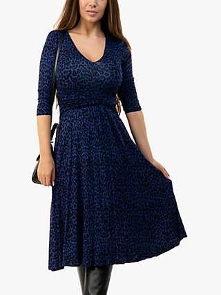 Jolie Moi Valeria Leopard Print Midi Dress