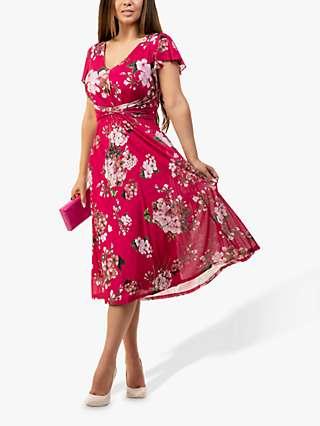 Jolie Moi Sarina Floral Print Midi Dress, Cerise