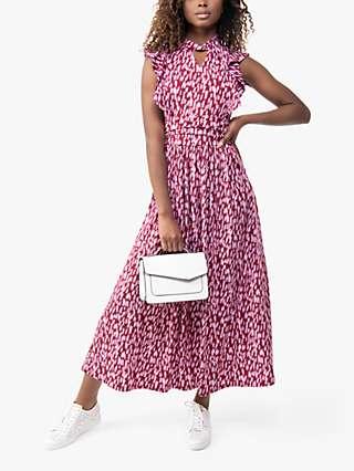 Jolie Moi Doris Frill Abstract Print Wrap Maxi Dress, Pink/Red