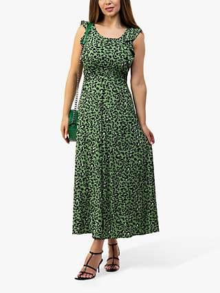 Jolie Moi Pia Leopard Print Frill Maxi Dress