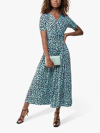 Jolie Moi Molly Leopard Print Maxi Dress, Blue