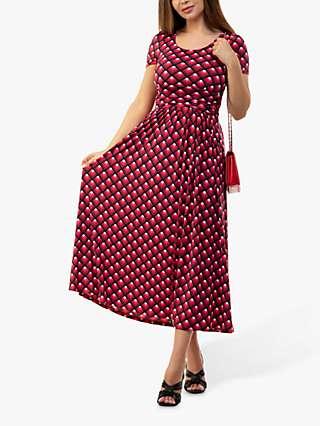 Jolie Moi Danna Geometric Abstract Print Midi Dress