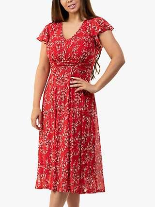 Jolie Moi Sarina Ditsy Floral Print Midi Dress, Red