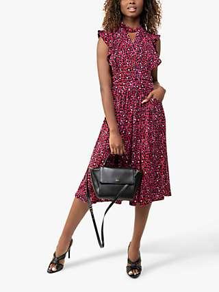 Jolie Moi Maahi Animal Print Ruffle Dress, Pink