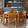 John Lewis Longstock Rectangle Outdoor Dining Table & 6 Stacking Chairs, FSC-Certified (Teak), Natural