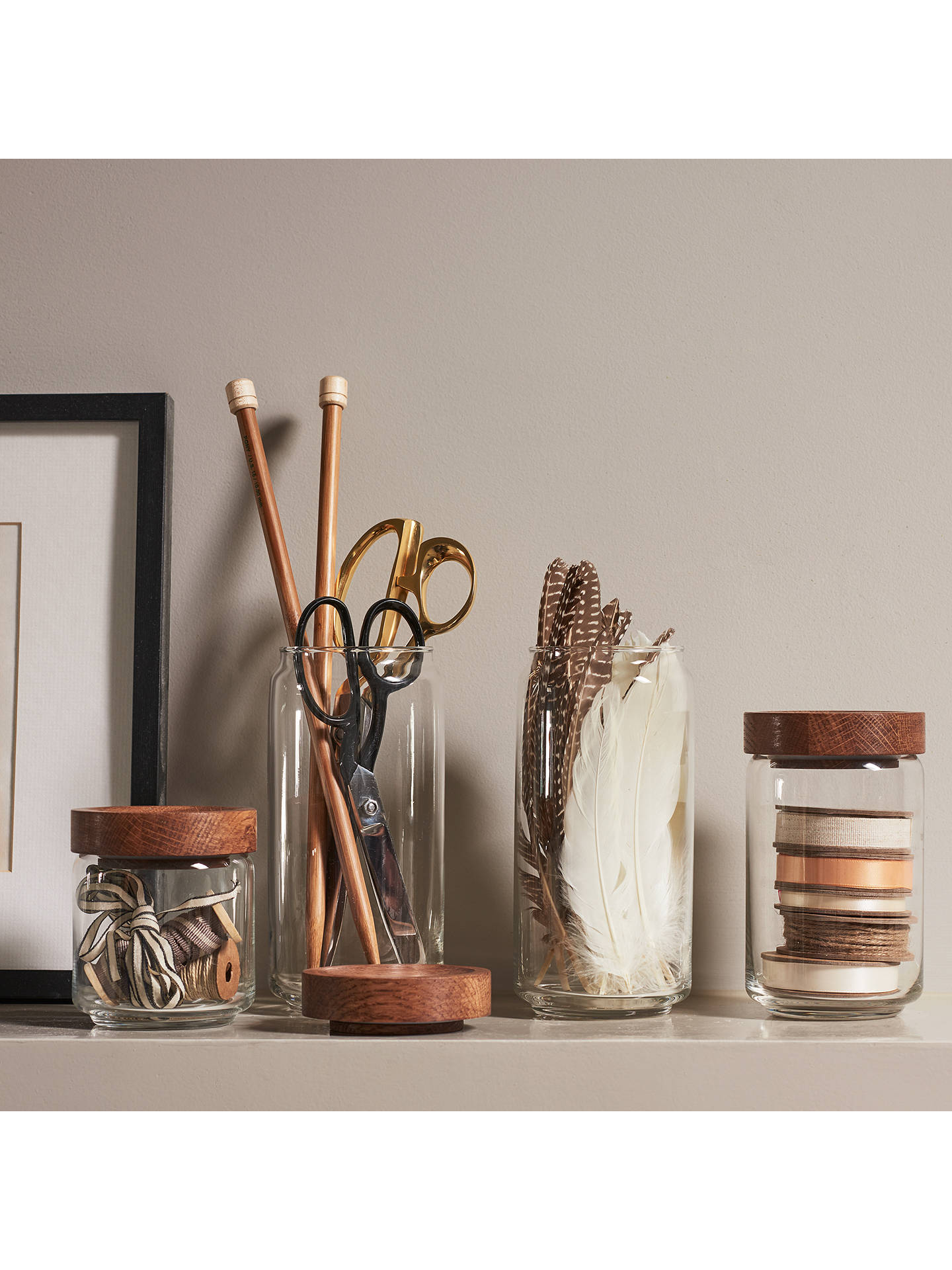 Buy Croft Collection Glass Jar with Oak Wood Lid, Natural/Clear, Medium Online at johnlewis.com