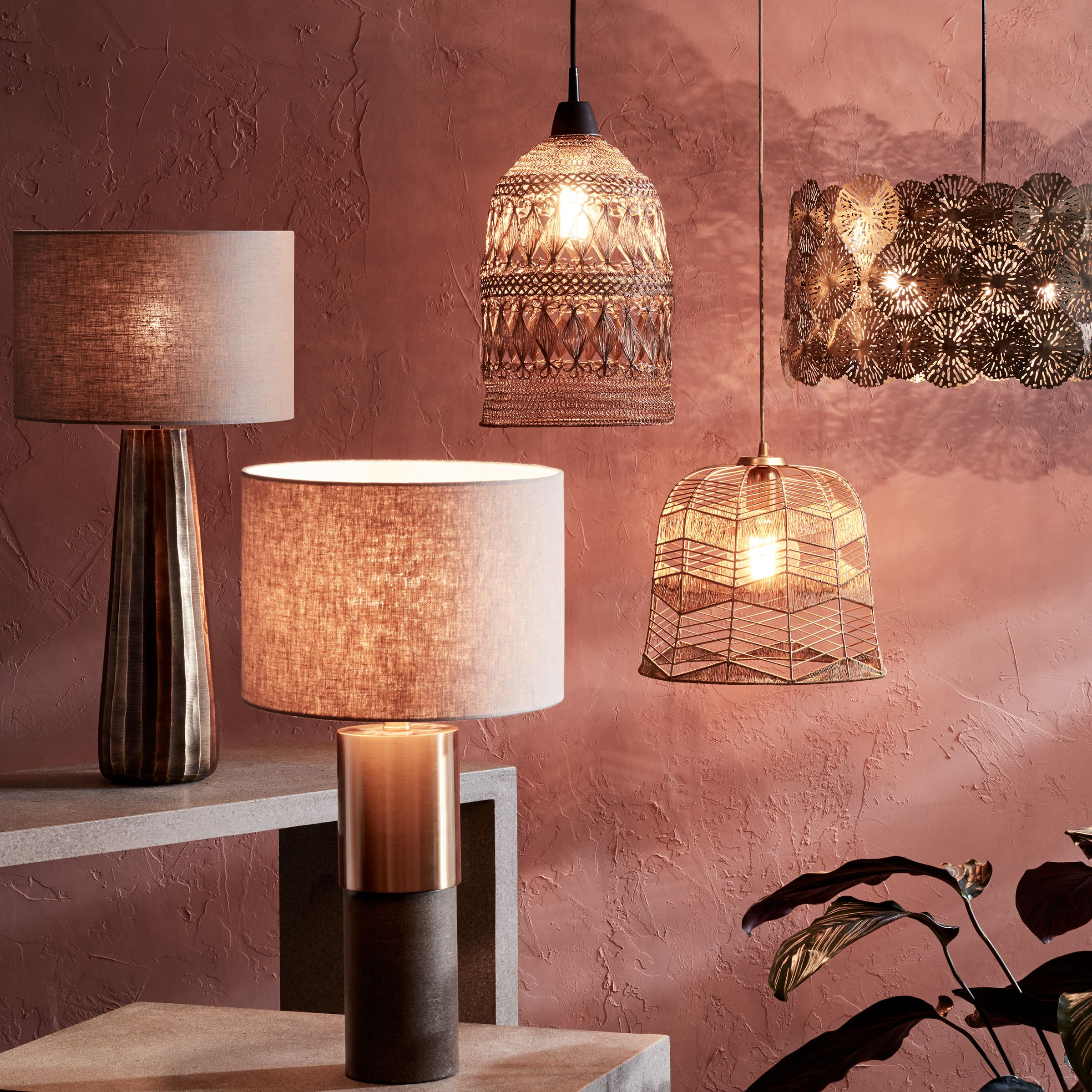 Range of floor and table lamps