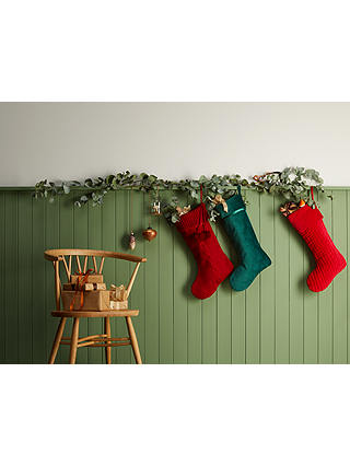 Buy John Lewis & Partners Traditions Ribbed Velvet Christmas Stocking, Red Online at johnlewis.com