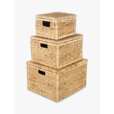 John Lewis & Partners Water Hyacinth Storage Baskets, Set of 3
