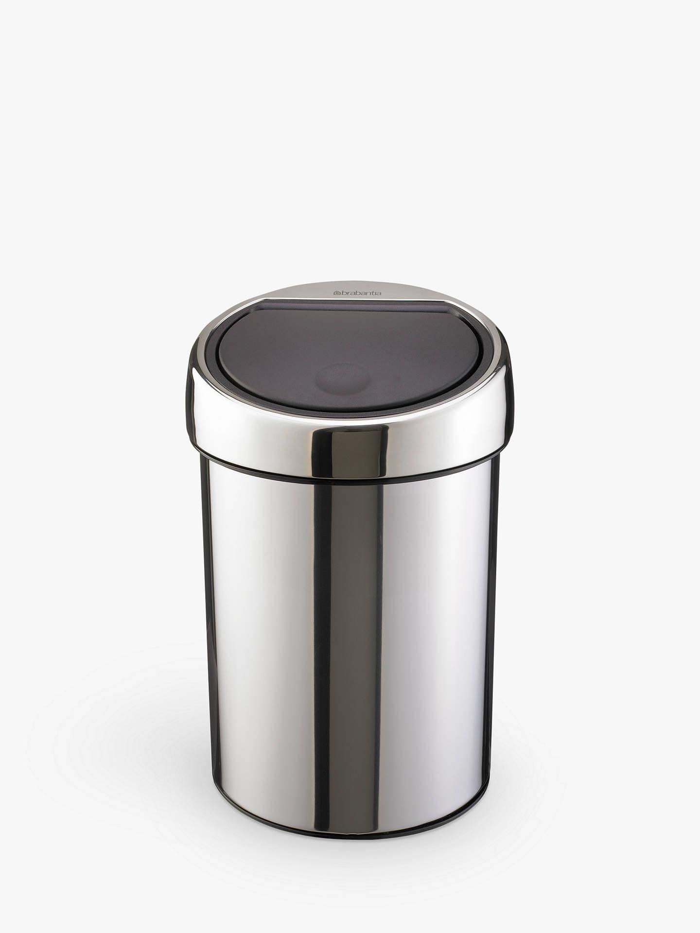 Brabantia Touch Bin 50 Liter Wit.Brabantia Touch Bin Brilliant Steel 3l