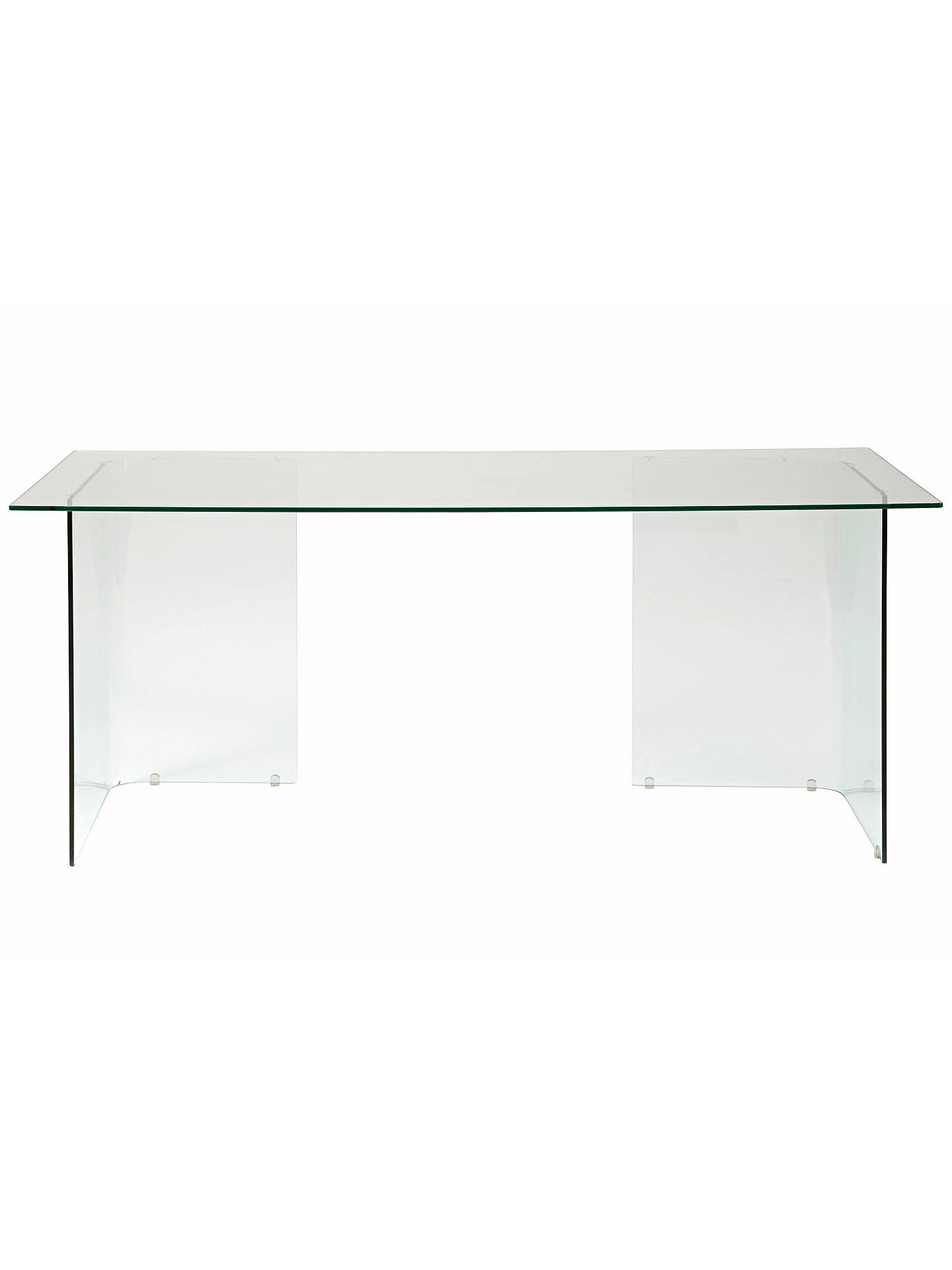 BuyJohn Lewis Staten 140 Clear Glass Top Desk with Glass Trestles Online at johnlewis.com