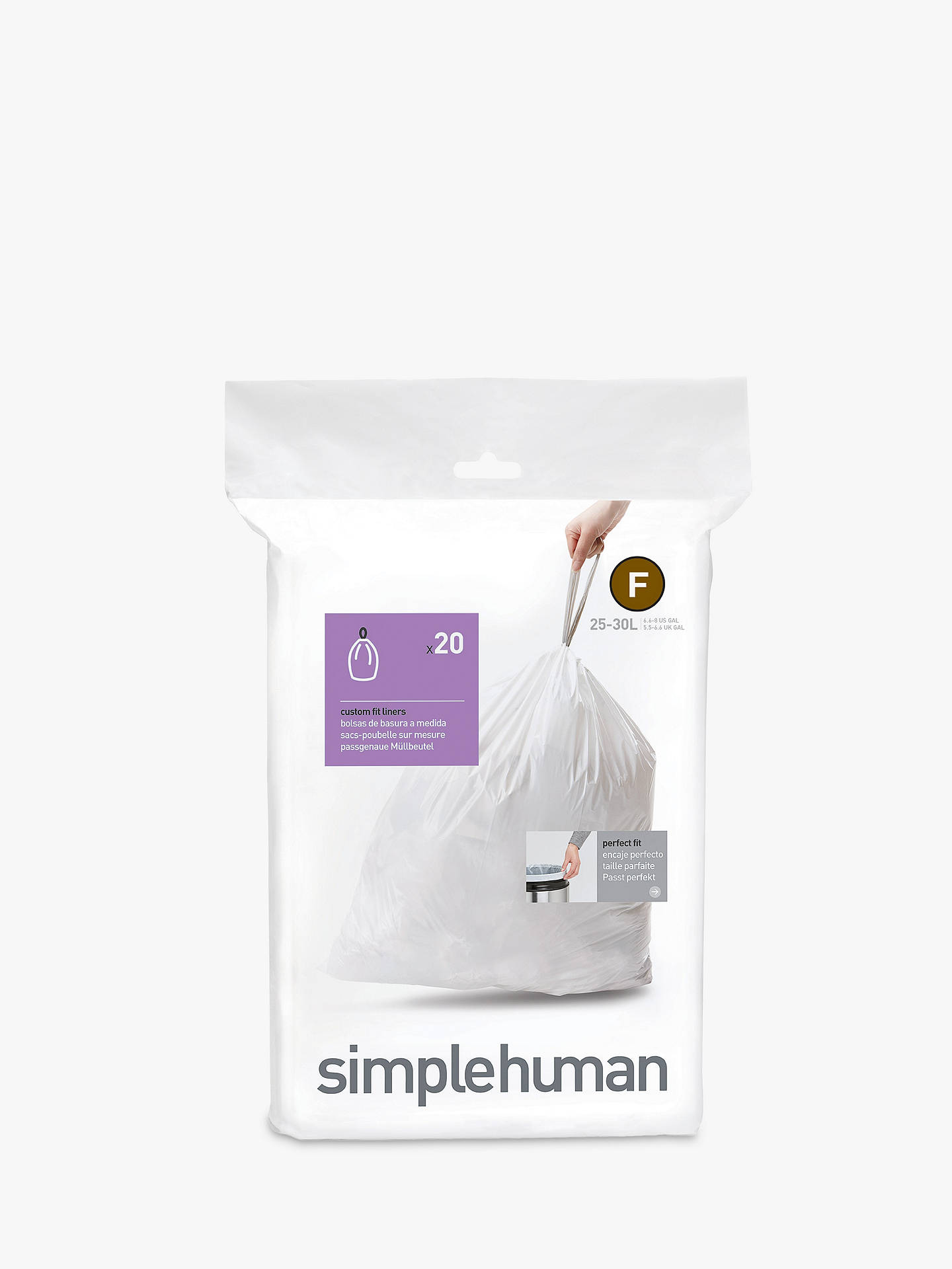 Buysimplehuman Bin Liners, Size F, Pack of 20 Online at johnlewis.com