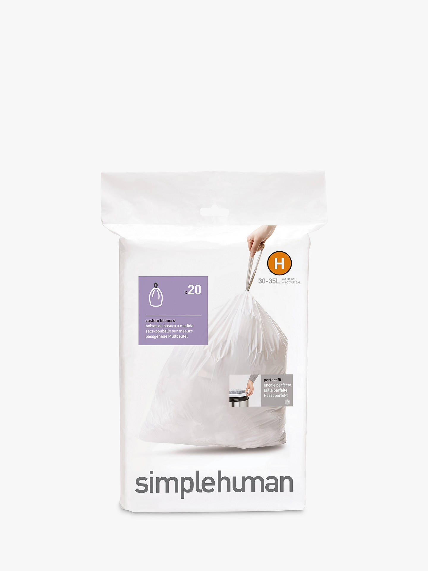 Buy simplehuman Bin Liners, Size H, Pack of 20 Online at johnlewis.com