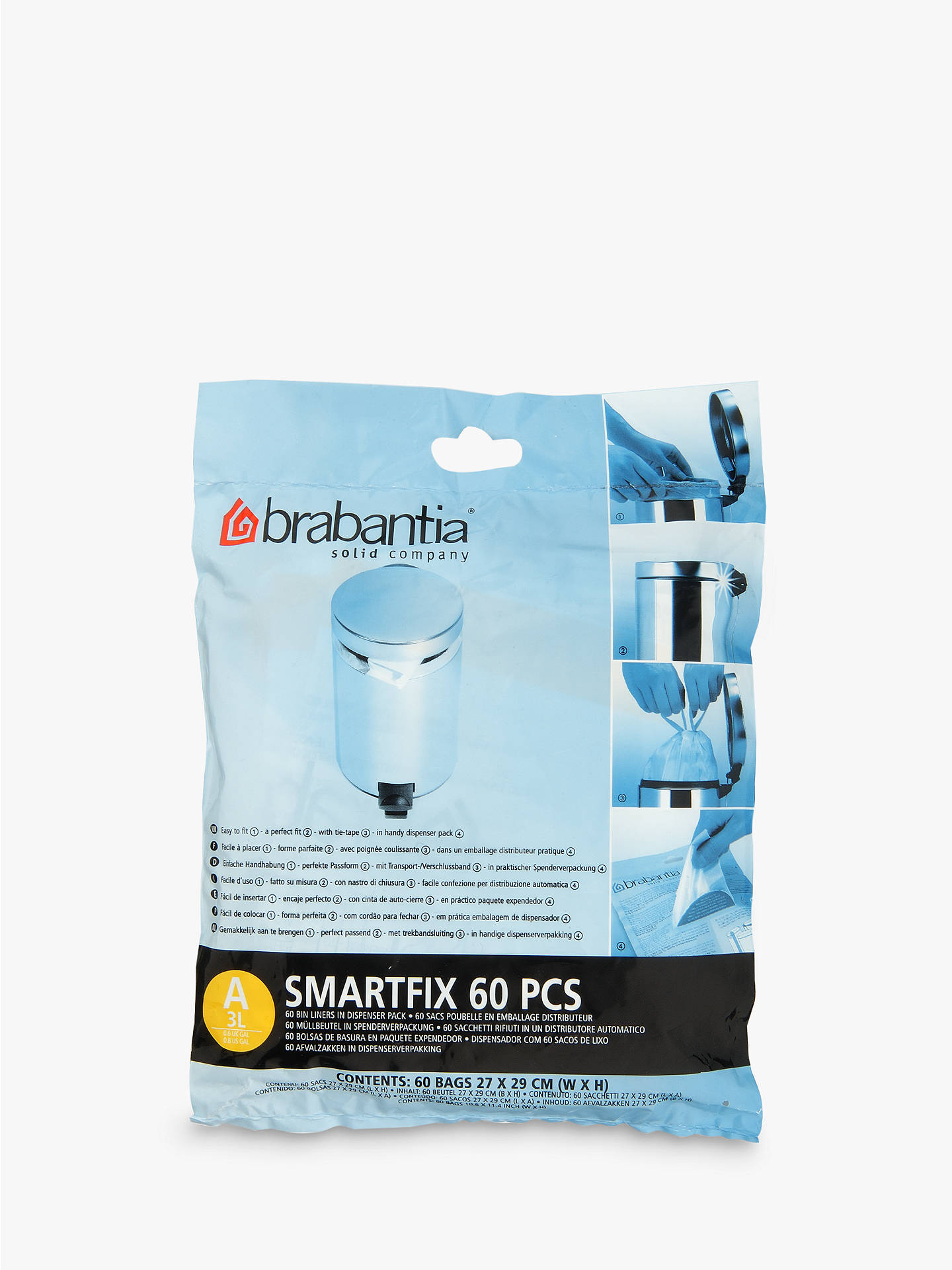 Buy Brabantia PerfectFit Bin Liners, 3L - Size A, 60 Bags Online at johnlewis.com