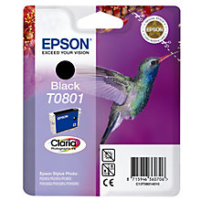 Buy Epson Hummingbird T0801 Inkjet Cartridge, Black Online at johnlewis.com