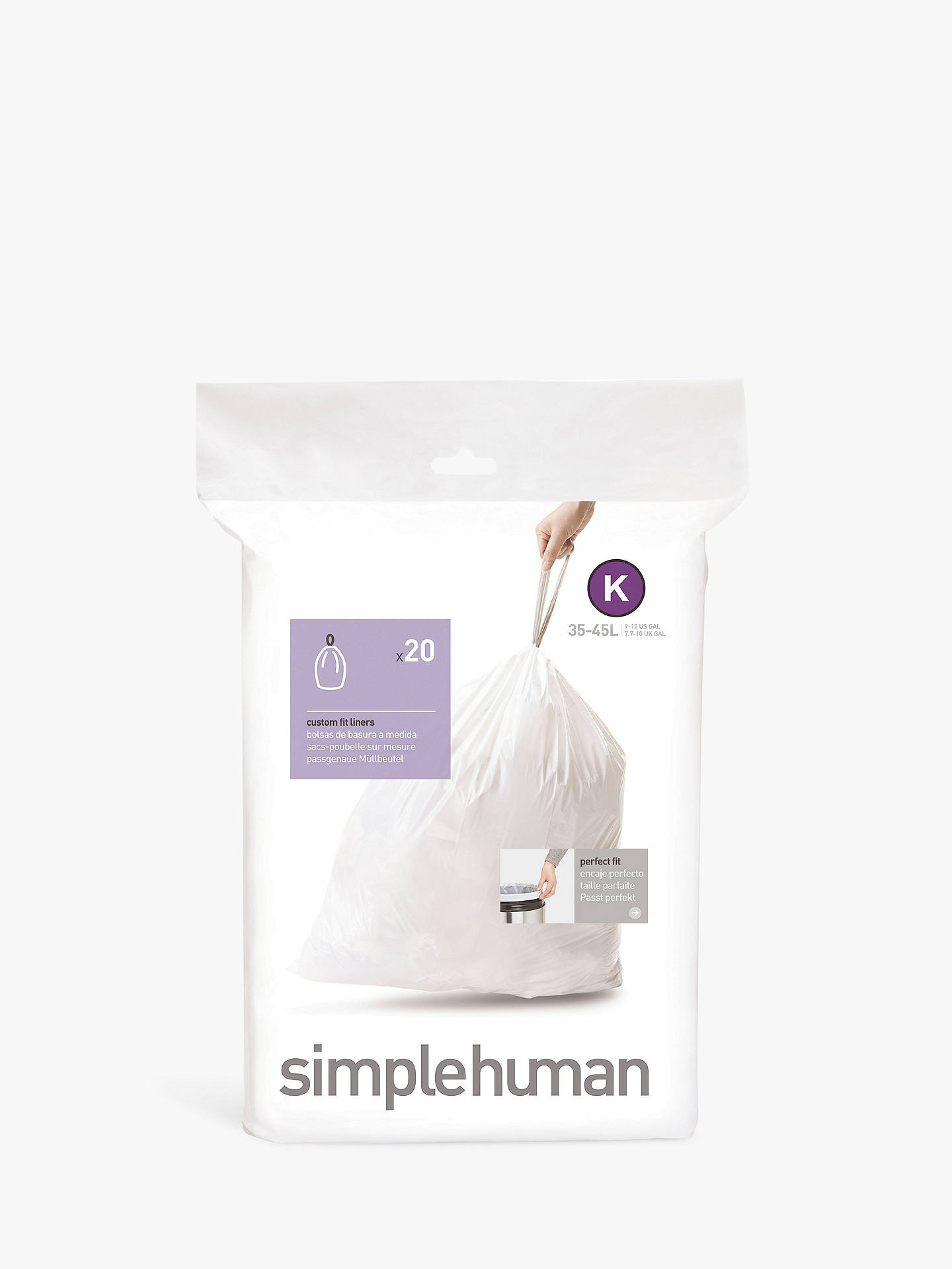Buy simplehuman Bin Liners, Size K, Pack of 20 Online at johnlewis.com