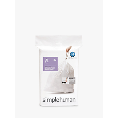 simplehuman Bin Liners, Size N, Pack of 20