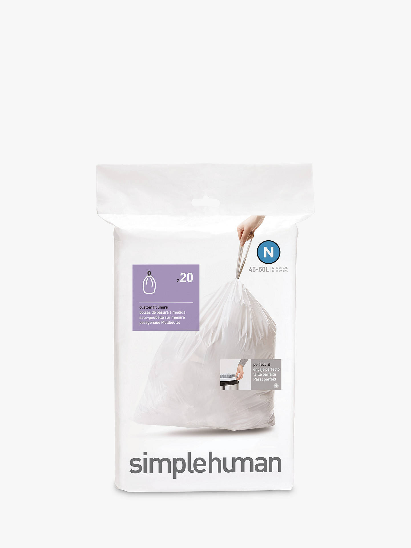 Buy simplehuman Bin Liners, Size N, Pack of 20 Online at johnlewis.com