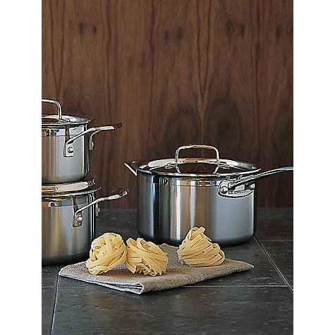 Buy Le Creuset 3-Ply Stainless Steel Saucepan Set Online at johnlewis.com