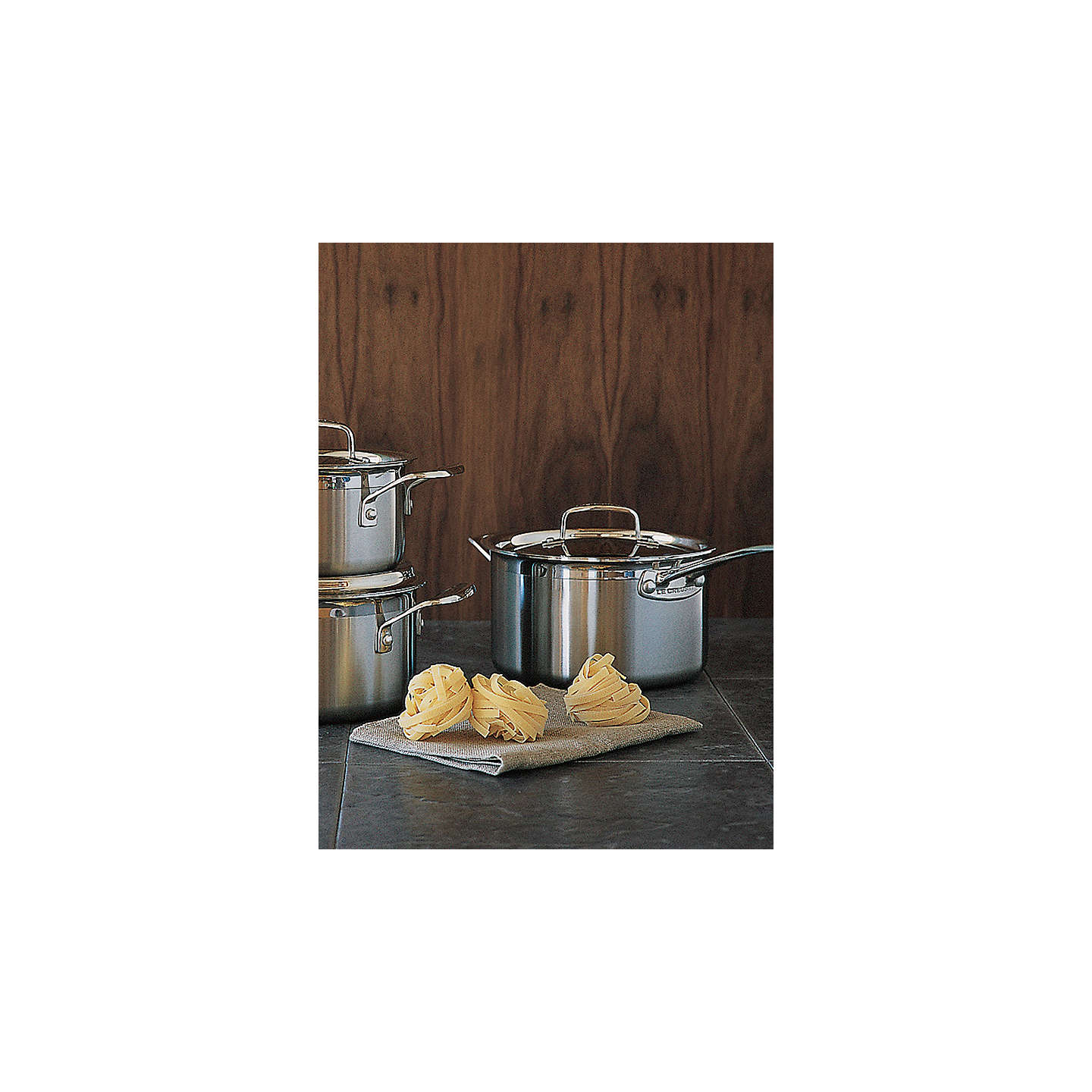 le creuset 3 ply stainless steel saucepan set at john lewis. Black Bedroom Furniture Sets. Home Design Ideas