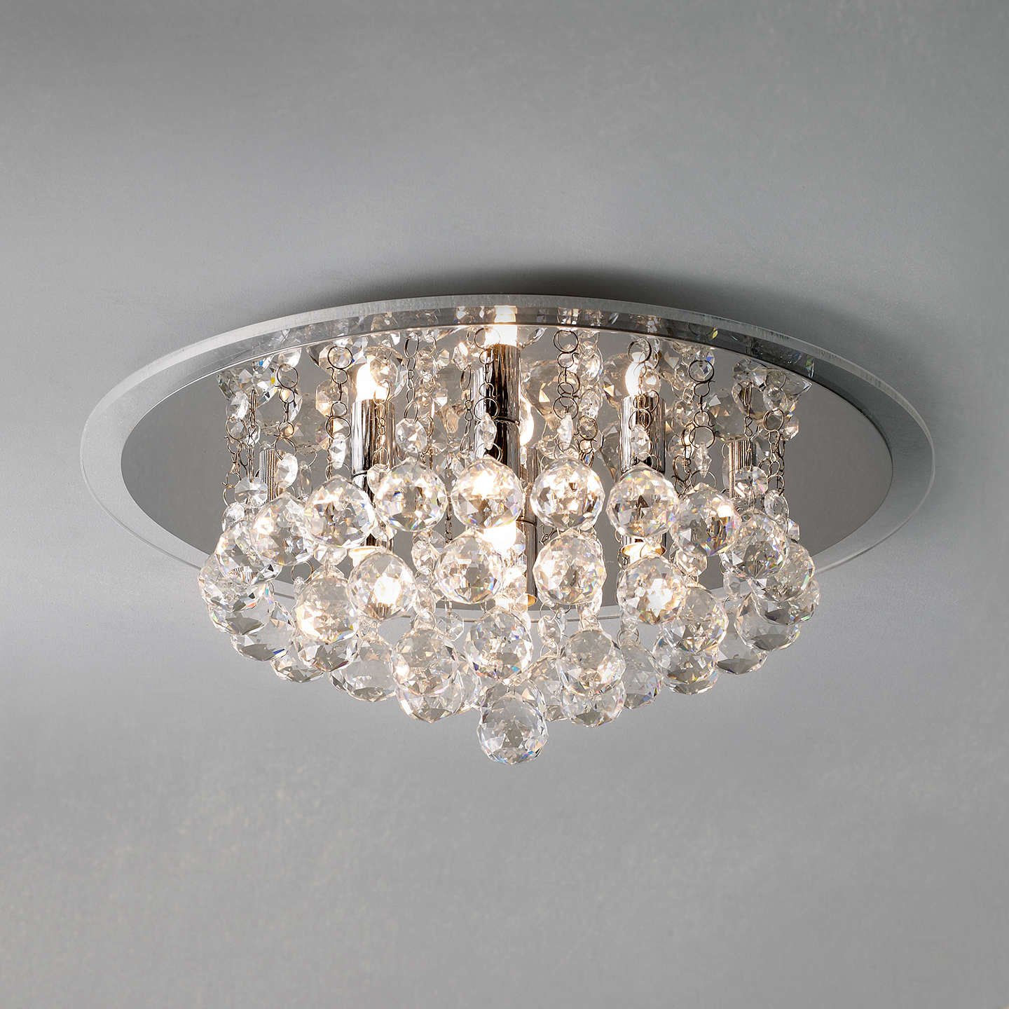 John lewis belinda flush ceiling light chrome crystal - Flush mount bathroom ceiling lights ...