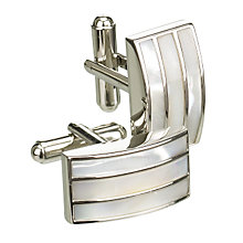 Buy Simon Carter Mother of Pearl Triple Band Cufflinks, Pearl Online at johnlewis.com