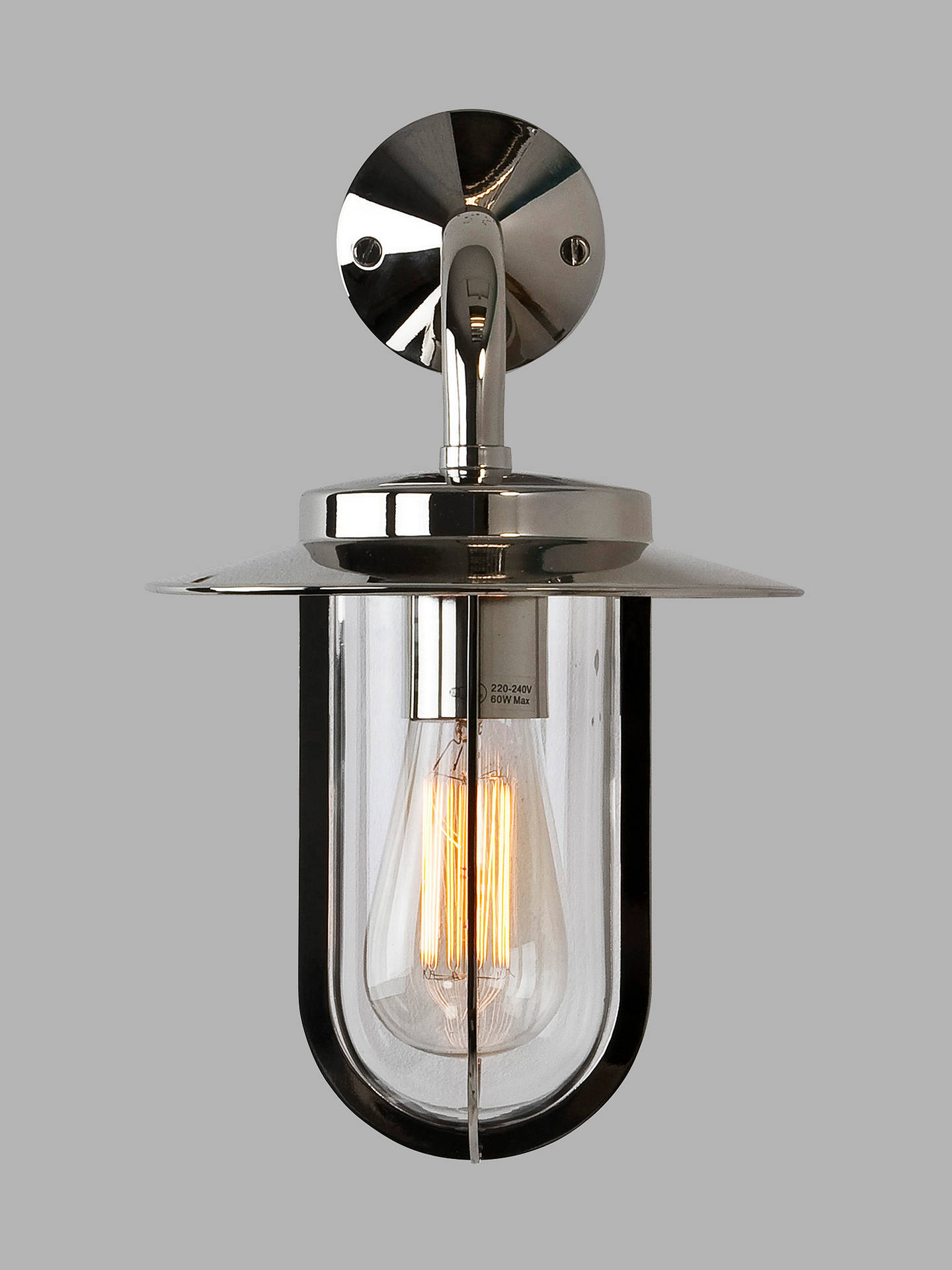 Buy Astro Montparnasse Outdoor Lantern Wall Light, Polished Nickel Online at johnlewis.com