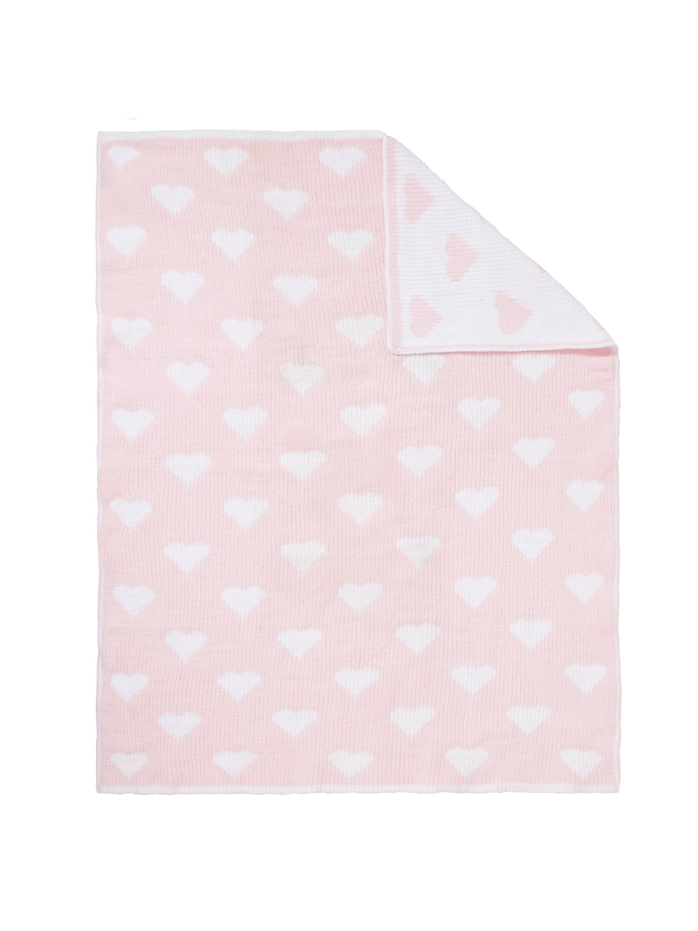 Buy John Lewis & Partners Knitted Heart Pram Baby Blanket, Pink Online at johnlewis.com