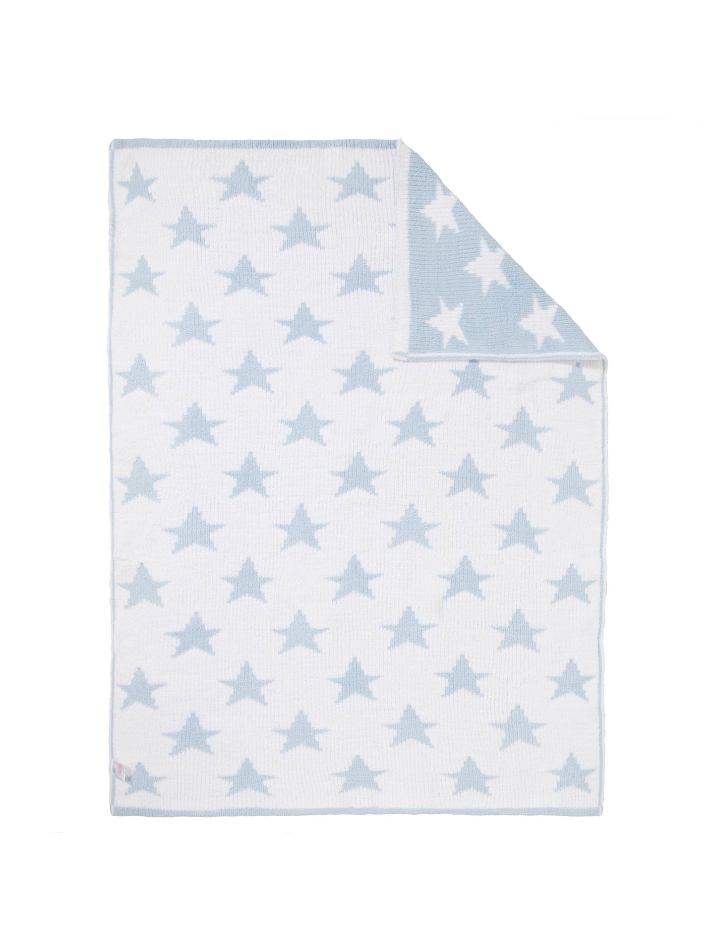 John Lewis Partners Knitted Star Pram Baby Blanket Blue At John