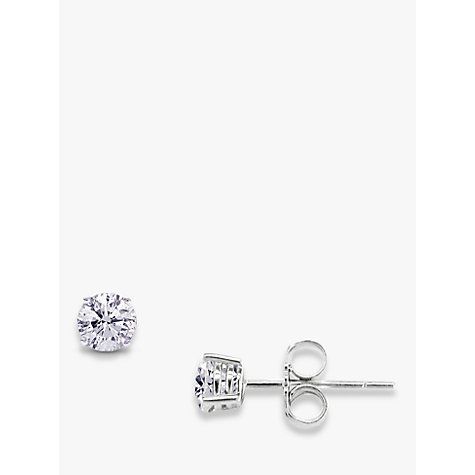 Buy EWA 18ct White Gold Brilliant Cut Diamond Stud Earrings, 0.12ct Online at johnlewis.com